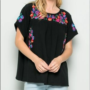 See and be seen floral embroidered top